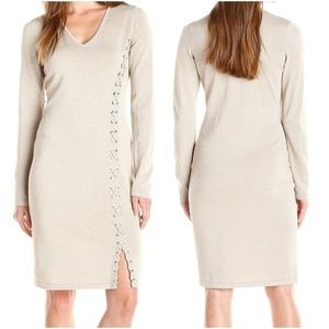 CALVIN KLEIN Gold Metallic Lace Up Knit Midi Dress